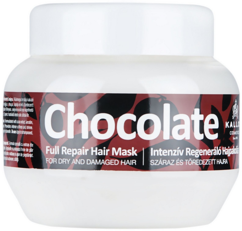 Intensywna, regenerująca, czekoladowa maska do suchych i łamiących sie włosów - Kallos Cosmetics Chocolate Mask