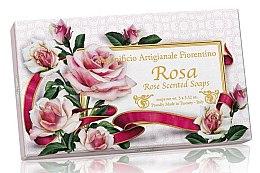 Kup Zestaw naturalnych mydeł w kostce Róża - Saponificio Artigianale Fiorentino Rose Scented Soap (3 x soap x 100g)