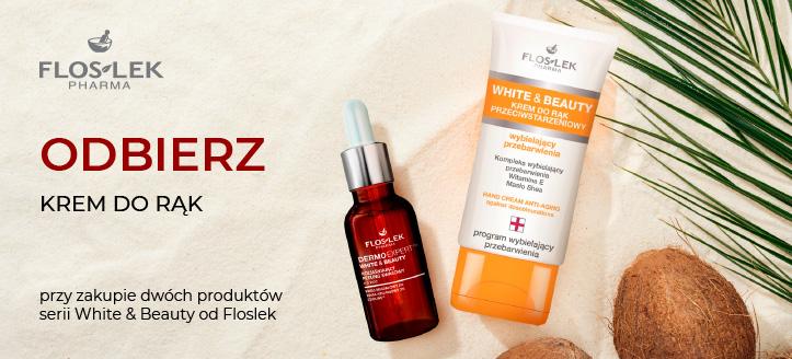 Przy zakupie dwóch produktów serii White & Beauty od Floslek, przeciwstarzeniowy krem do rąk otrzymasz w prezencie.