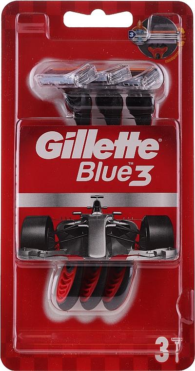 Jednorazowe maszynki do golenia, 3 szt., czerwone - Gillette Blue 3