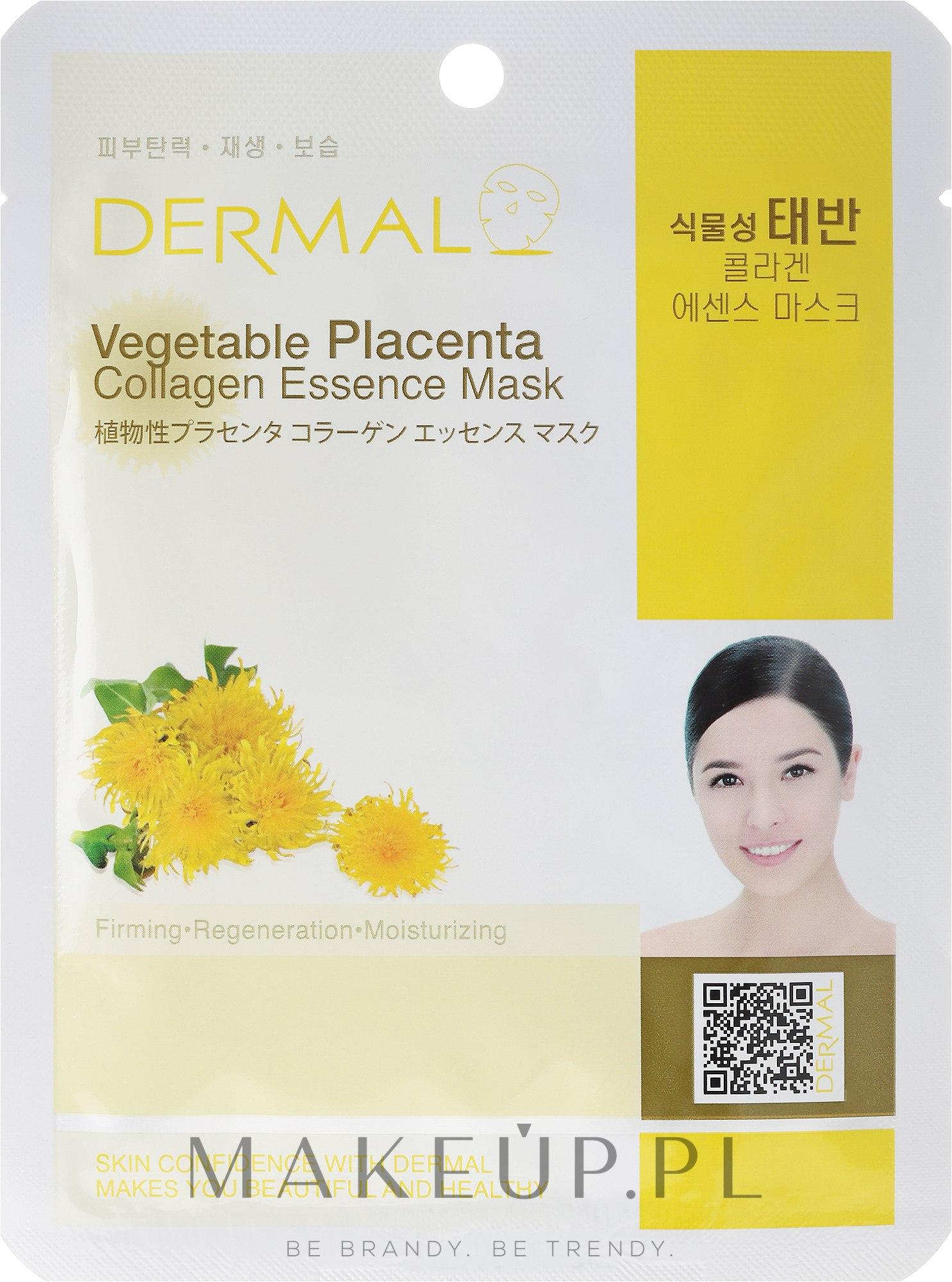 Kolagenowa esencjonalna maseczka do twarzy Roślinna placenta - Dermal Vegetable Placenta Collagen Essence Mask — фото 23 ml