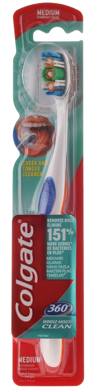 Szczoteczka do zębów, średnia twardość, granatowo-pomarańczowa - Colgate 360° Whole Mouth Clean — фото N1