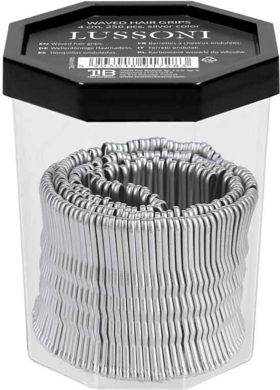 Wsuwki, 4 cm, srebrne - Lussoni Waved Hair Grips Silver 4 cm — фото N2