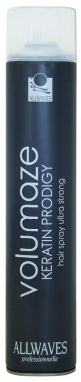 Lakier z keratyną zwiększający objętość włosów - Allwaves Volumaze Keratin Prodigy Hair Spray Ultra Strong