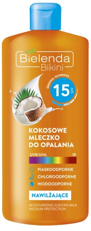 Kokosowe mleczko nawilżające do opalania SPF 15 - Bielenda Bikini — фото N1