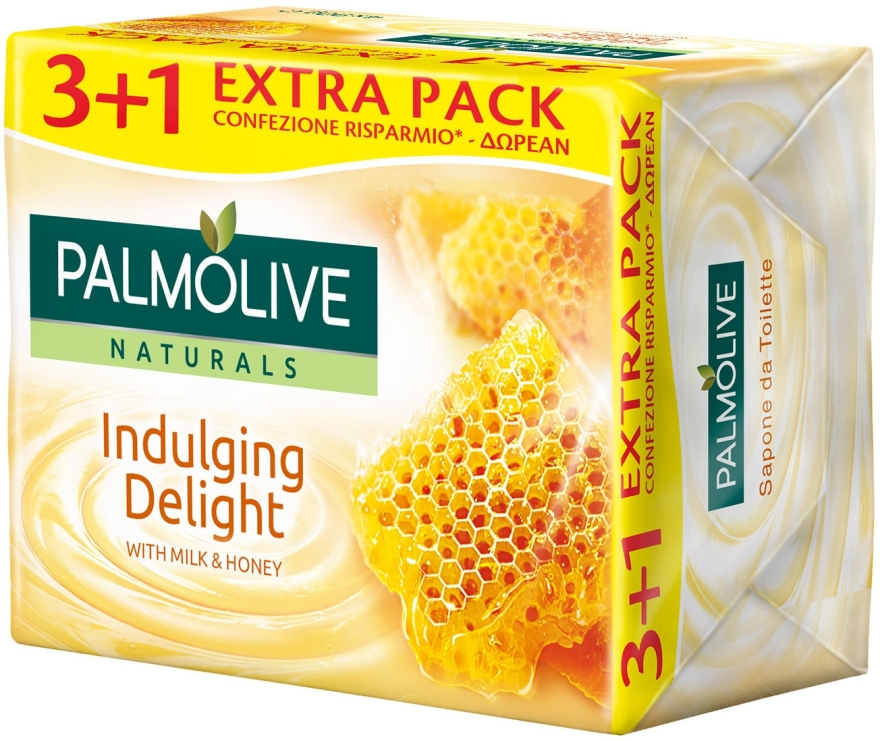 Mydło w kostce Mleko i miód, 3+1 - Palmolive Naturals Indulging Delight with Milk & Honey Soap — фото N1