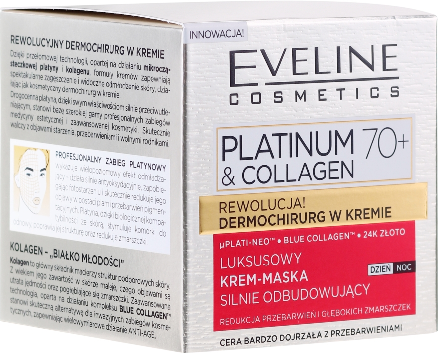 Luksusowy krem-maska silnie odbudowujący 70+ - Eveline Cosmetics Platinum & Collagen