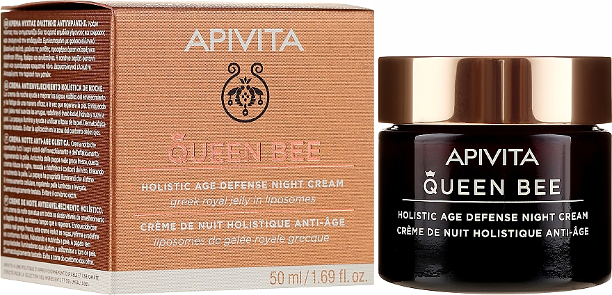 Przeciwstarzeniowy krem do twarzy na noc - Apivita Queen Bee Holistic Age Defense Night Cream — фото N1