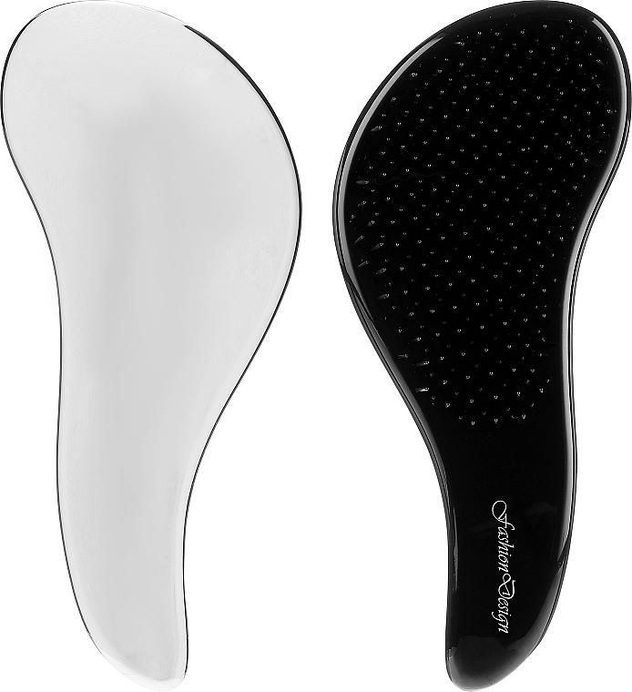 Szczotka do włosów Fashion Design 62155, srebrno-czarna - Top Choice Detangler Hair Brush