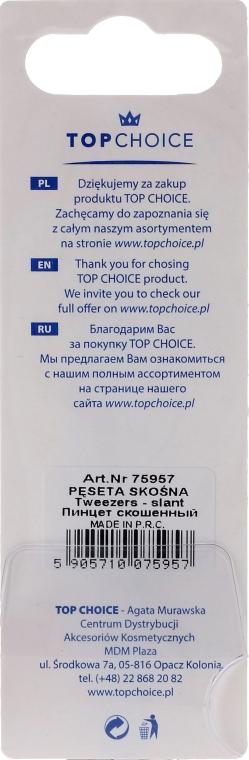 Pęseta z ukośnymi końcami do brwi, 75957, czarno-biała - Top Choice — фото N2