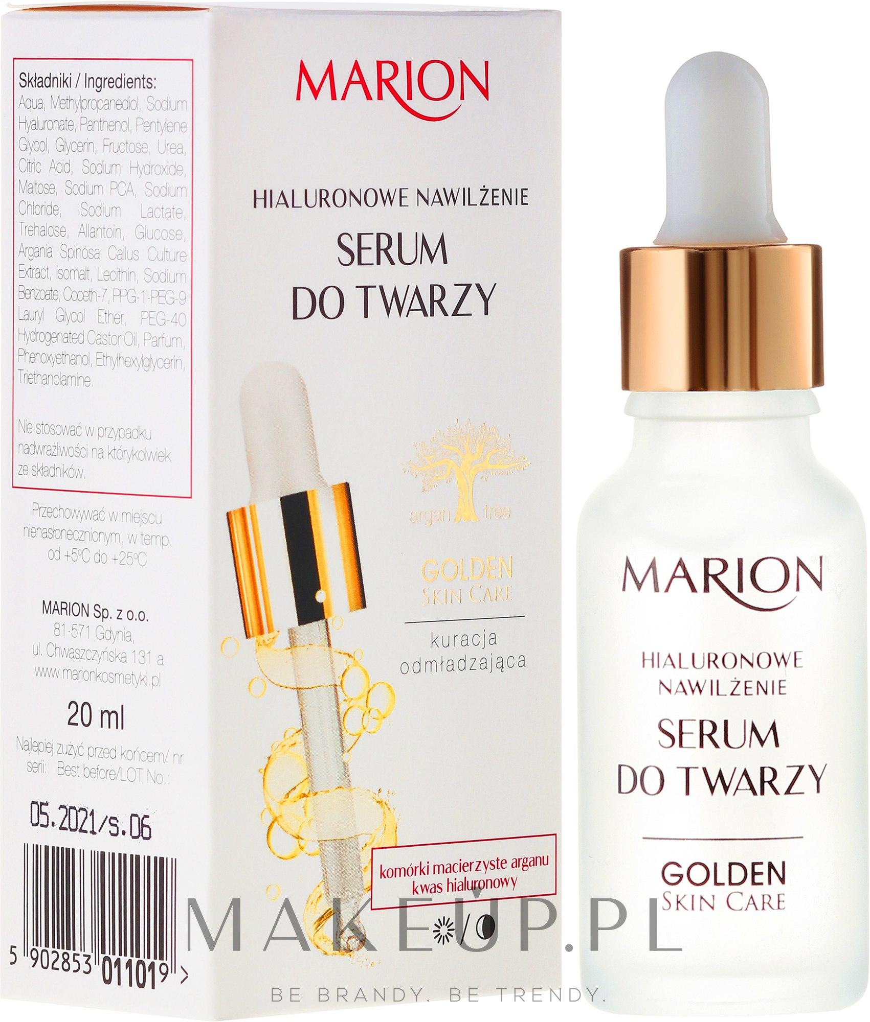 Serum do twarzy, szyi i dekoltu Hialuronowe nawilżenie - Marion Golden Skin Care — фото 20 ml