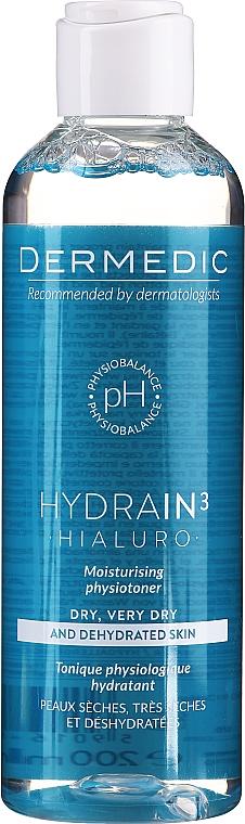 Nawilżający fizjotonik do twarzy - Dermedic Hydrain 3 Hialuro Physiotoner — фото N1