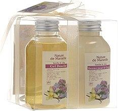 Kup Zestaw kosmetyków o zapachu wanilii i królewskiej lilii - Nature de Marseille (lot 150 ml + sh/gel 150 ml + sponge)