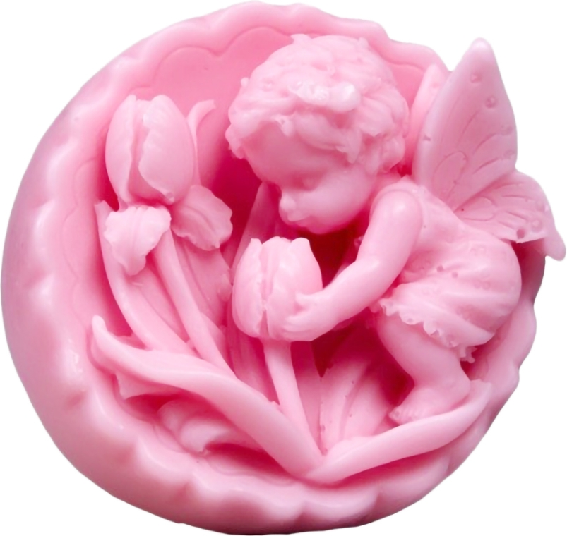Naturalne mydło ręcznie robione o zapachu wiśniowym Anioł z tulipanami w medalionie - LaQ Happy Soaps — фото N1