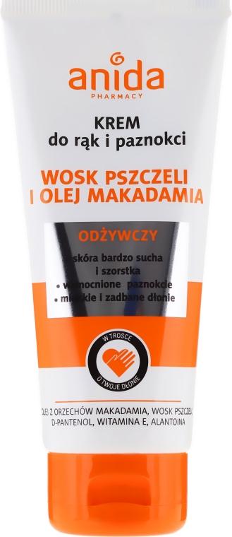 Odżywczy krem do rąk i paznokci Wosk pszczeli i olej makadamia - Anida