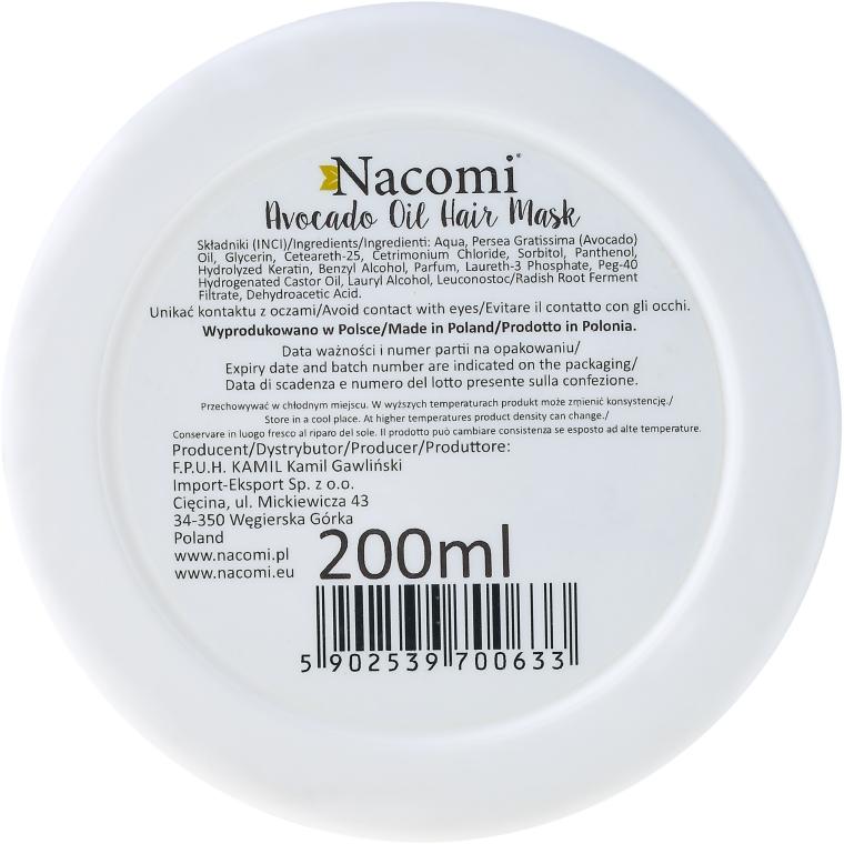 Maska do włosów z olejem z awokado i proteinami keratyny - Nacomi Natural — фото N2