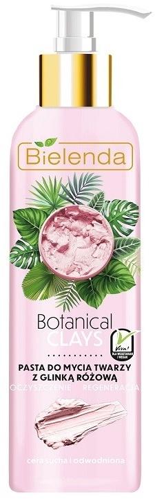 Wegańska pasta do mycia twarzy z glinką różową do cery suchej i odwodnionej Oczyszczenie i regeneracja - Bielenda Botanical Clays