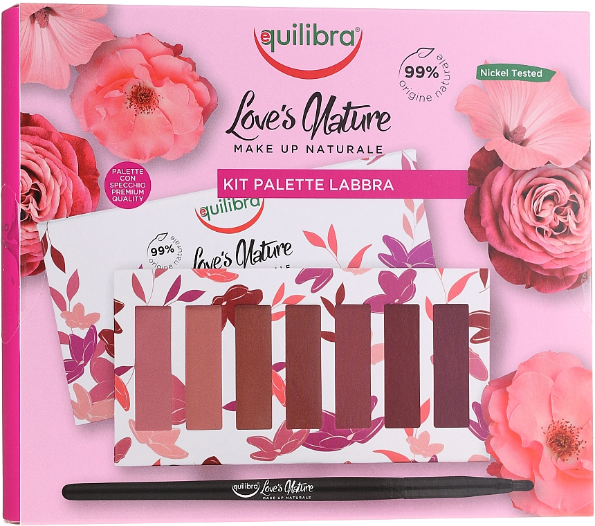 Zestaw szminek z pędzelkiem - Equilibra Love's Nature Lip Palette Kit