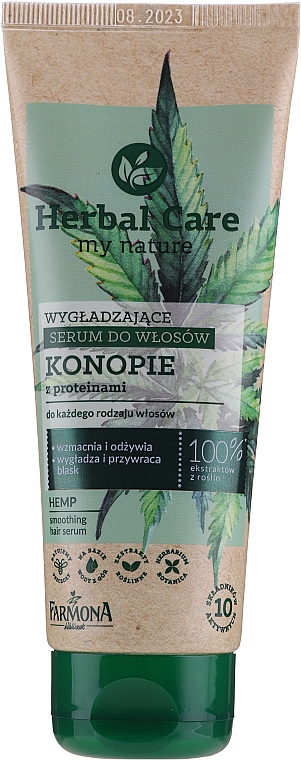 Wygładzające serum do włosów Konopie - Farmona Herbal Care Smoothing Hair Serum with Hemp Oil and Protein