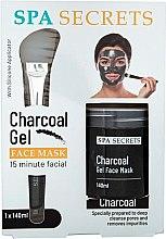 Kup Zestaw - Spa Secrets Charcoal Gel Face Mask (mask/140ml + brush/mask/1pcs)