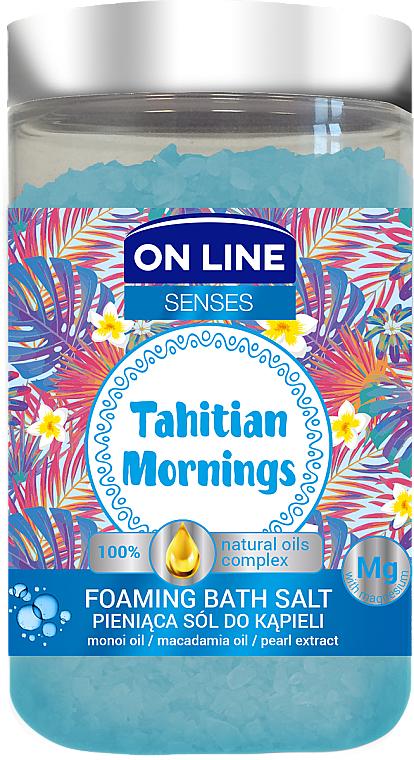 Pieniąca sól do kąpieli z olejami monoi i makadamia - On Line Senses Tahitian Mornings