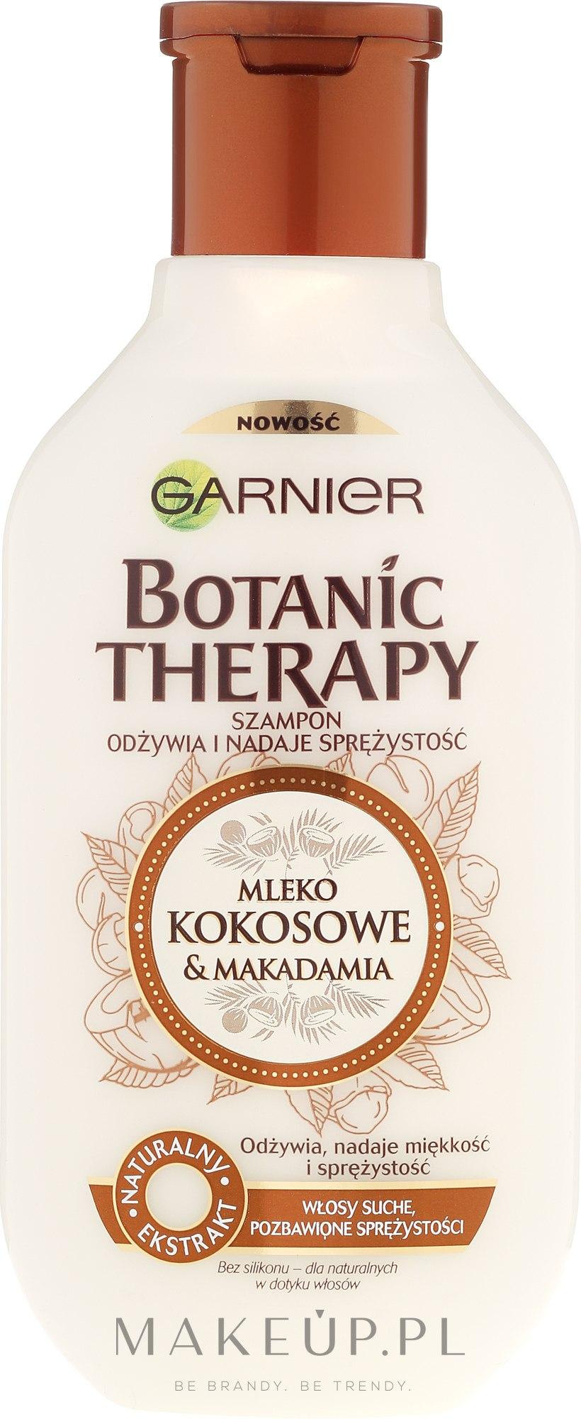 Szampon odżywiający i nadający sprężystość włosom suchym Mleko kokosowe i olej makadamia - Garnier Botanic Therapy Coconut Milk & Macadamia Shampoo — фото 250 ml