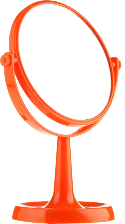 Lusterko kosmetyczne na nóżce 85734, 15,5 cm, pomarańczowe - Top Choice Colours Mirror