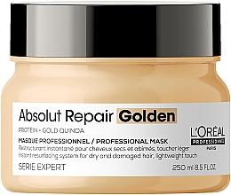 Kup Złota maska naprawcza do włosów - L'Oreal Professionnel Absolut Repair Quinoa +Protein Resurfacing Golden Masque New