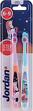 Kup Szczoteczka do zębów dla dzieci 6-7 lat, różowa + niebieska - Jordan Step By Step Soft
