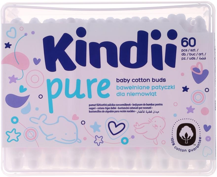Patyczki kosmetyczne dla dzieci Kindii, 60 szt. - Cleanic Kids Care Cotton Buds