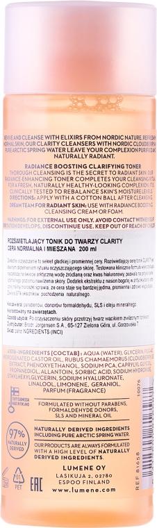 Rozświetlający tonik do twarzy - Lumene Clarity — фото N2