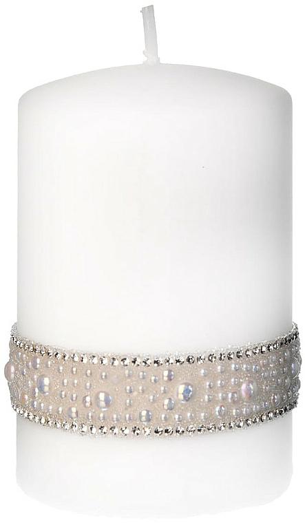 Świeca dekoracyjna, biała 7x14 cm - Artman Crystal Pearl — фото N1