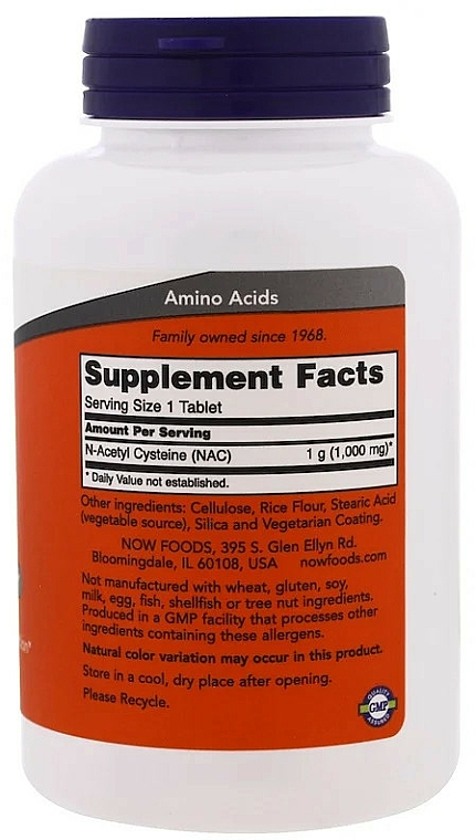 Suplement diety NAC, 1000 mg - Now Foods NAC Tablets — фото N2