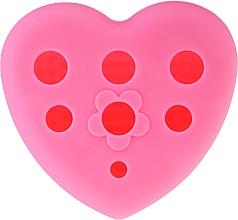 Kup Silikonowa szczoteczka do mycia i suszenia pędzli do makijażu ze stojakiem, różowa - Lash Brow