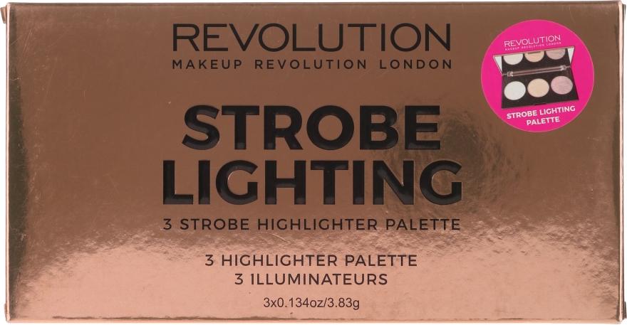 Paleta rozświetlaczy do twarzy - Makeup Revolution 3 Strobe Highlighter Palette