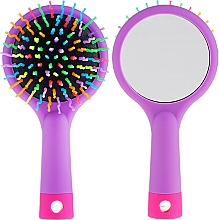 Kup Szczotka do włosów z lusterkiem, fioletowa - Twish Handy Hair Brush with Mirror Lavender Floral