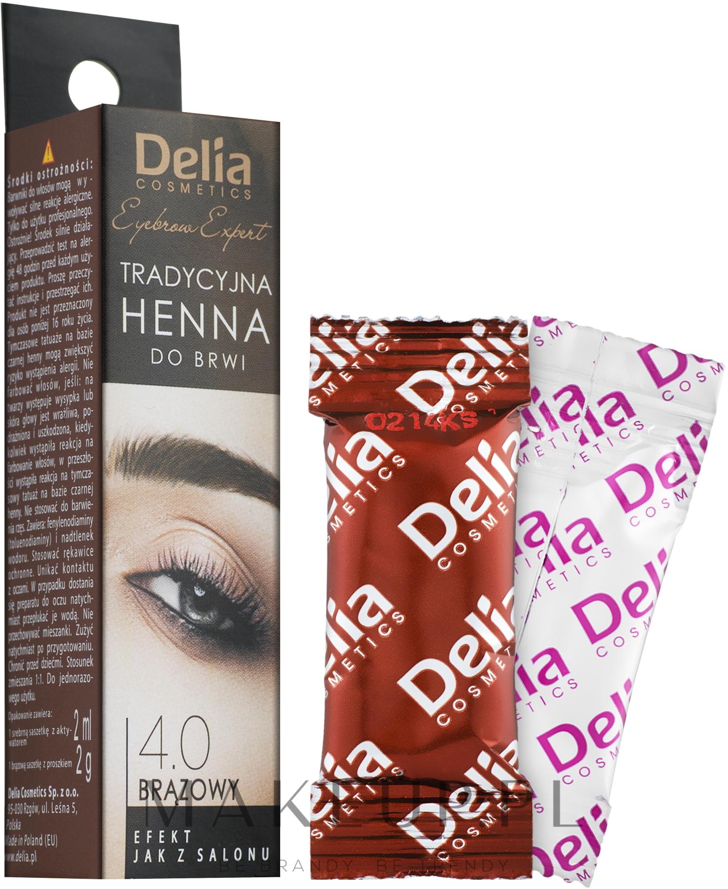 Tradycyjna henna do brwi (brązowa) - Delia Henna Eyebrow Tint — фото 2x2 ml