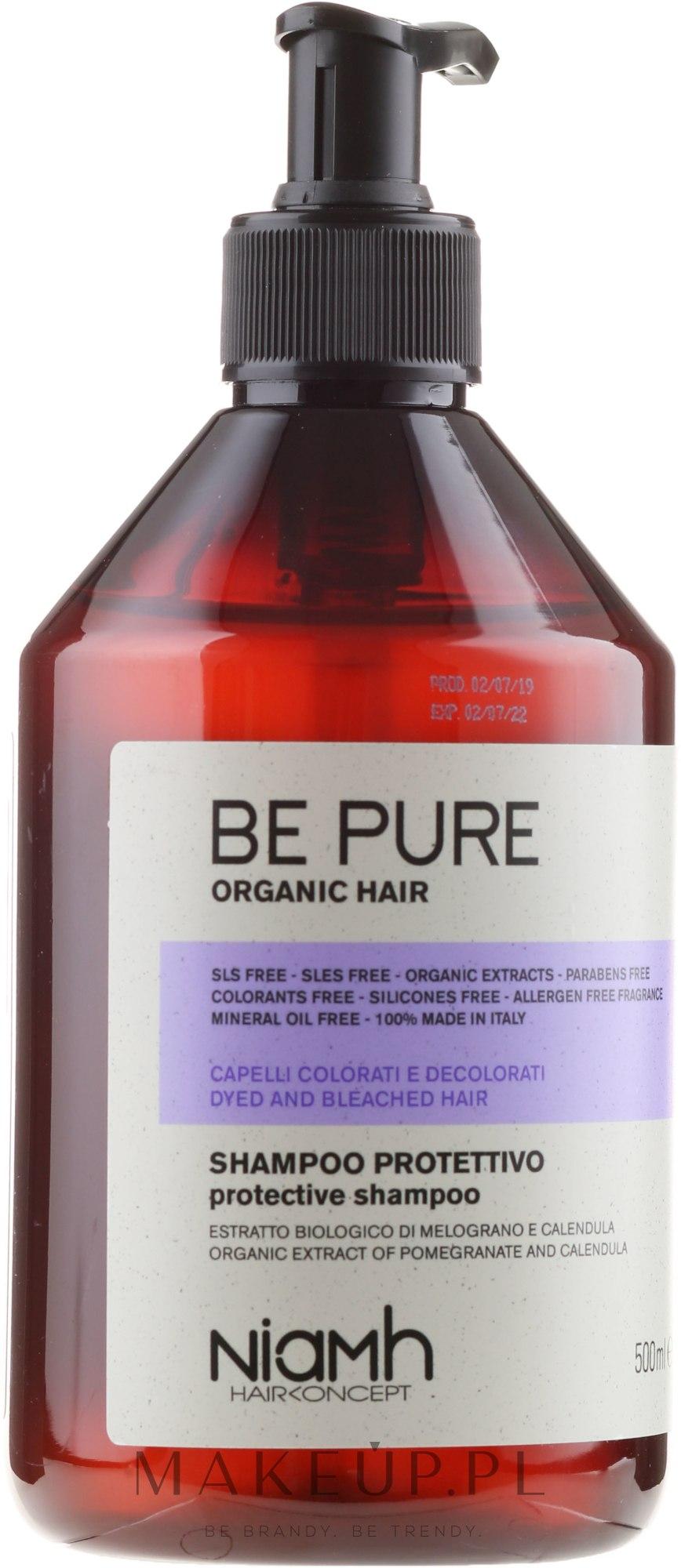 Ochronny szampon do włosów farbowanych i rozjaśnianych - Niamh Hairconcept Be Pure Protective Shampoo — фото 500 ml