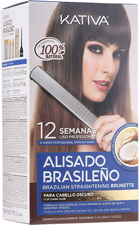 Zestaw do keratynowego prostowania włosów dla brunetek - Kativa Alisado Brasileno Straighten Brunette (shm/15ml + mask/150ml + shm/30ml + cond/30ml + brush/1pcs + gloves/1pcs)