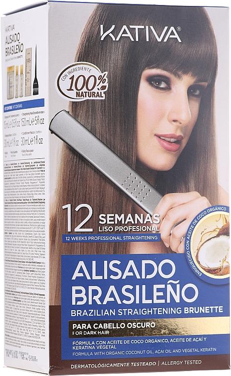 Zestaw do keratynowego prostowania włosów dla brunetek - Kativa Alisado Brasileno Straighten Brunette (shm 15ml + mask 150ml + shm 30ml + cond 30ml + brush 1pcs + gloves 1pcs)