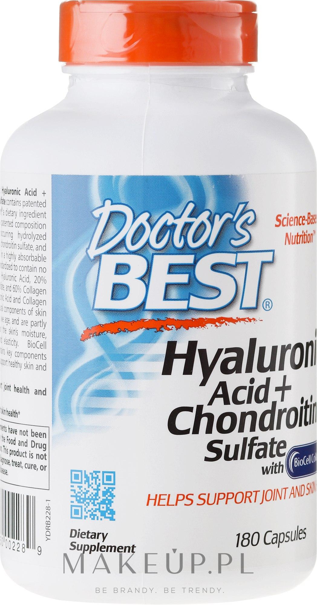 Kwas hialuronowy z siarczanem chondroityny i kolagenem na zdrowe stawy - Doctor's Best Hyaluronic Acid with Chondroitin Sulfate Capsules — фото 180 szt.