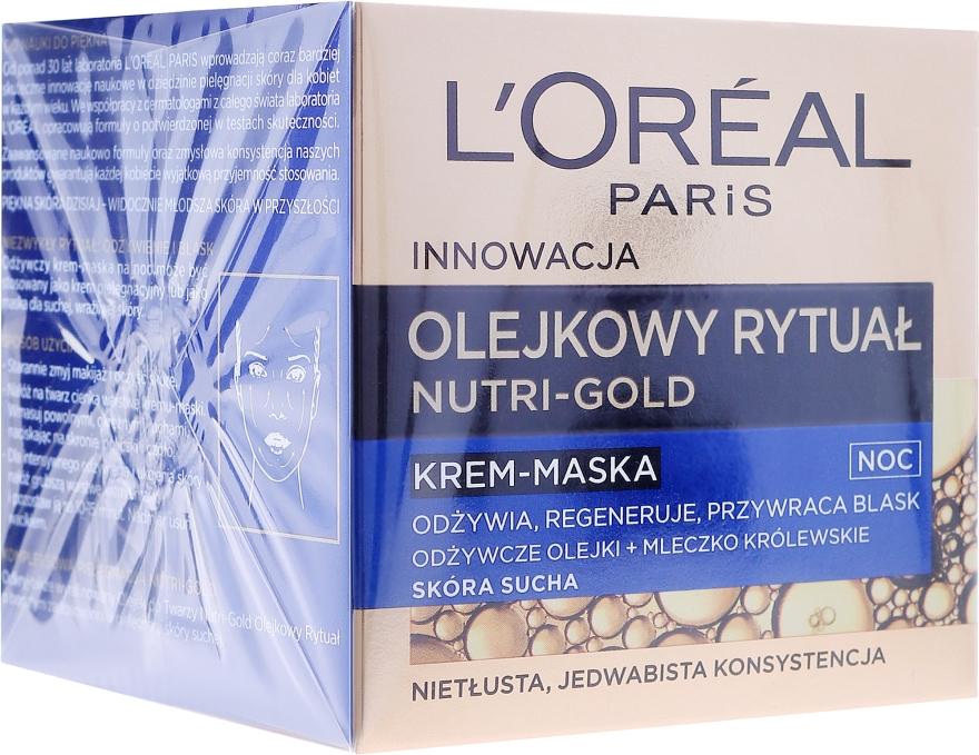 Odżywczy krem-maska do skóry suchej - L'Oreal Paris Nutri Gold Night Cream-Mask — фото N1