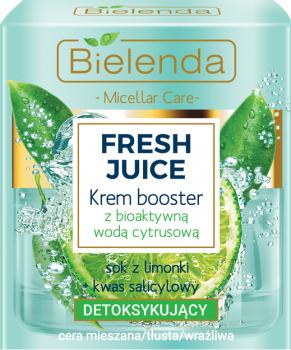 Detoksykujący krem-booster do cery mieszanej, tłustej i wrażliwej z bioaktywną wodą cytrynową - Bielenda Fresh Juice Booster