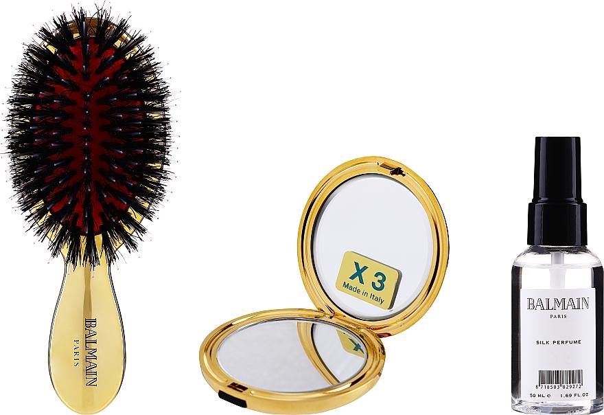 Zestaw - Balmain Paris Hair Couture Gold Brush Set Mini (h/silk/50ml + brush + mirror) — фото N2