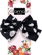 Kup Gumka-kokardka do włosów, 417623, czarna w kwiaty - Glamour