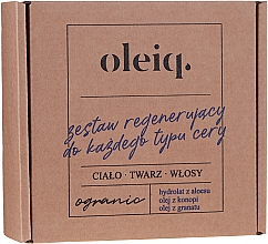 Kup Zestaw regenerujący do każdego typu cery - Oleiq (hydrolat/100ml + oil/100ml + oil/30ml)