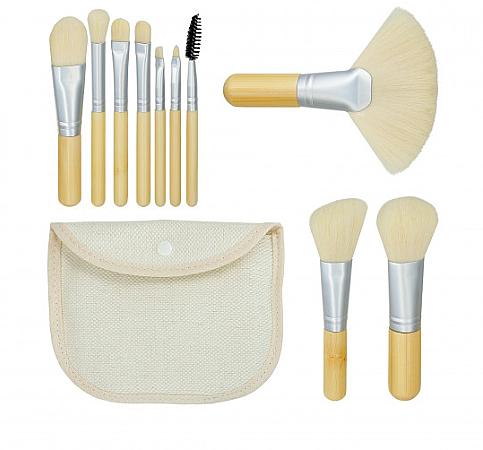 Zestaw pędzli do makijażu Bamboo White 10szt + kosmetyczka - Tools For Beauty