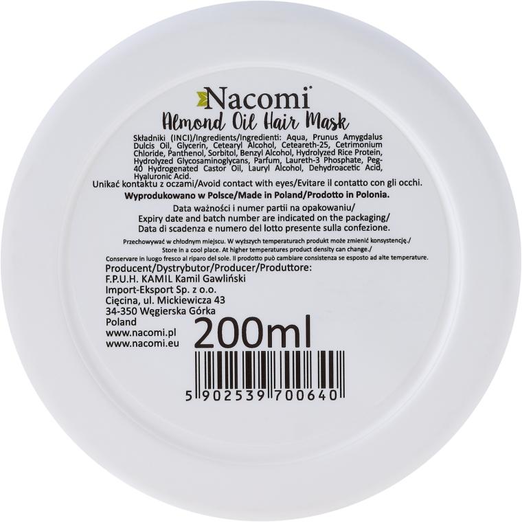 Maska do włosów z olejem ze słodkich migdałów, kwasem hialuronowym i proteinami ryżu - Nacomi Almond Oil Hair Mask — фото N2