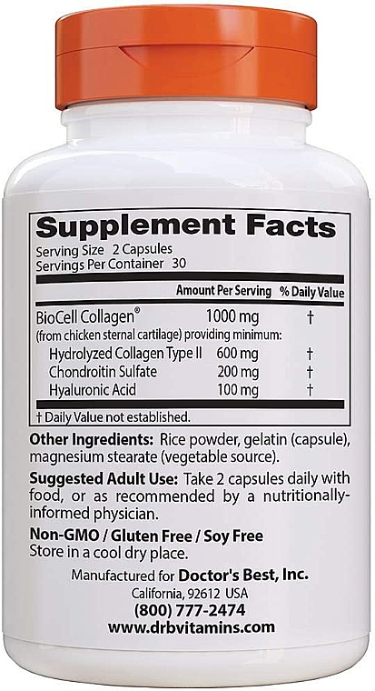 Kwas hialuronowy z siarczanem chondroityny i kolagenem na zdrowe stawy - Doctor's Best Hyaluronic Acid with Chondroitin Sulfate Capsules — фото N2