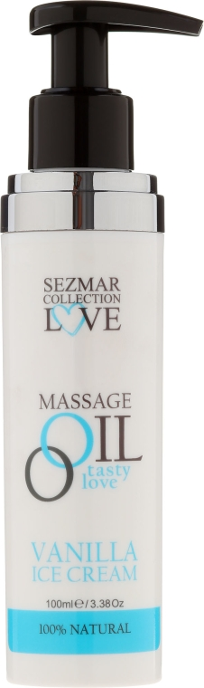 Olejek do masażu Lody waniliowe - Sezmar Collection Love Massage Oil Vanilla Ice Cream — фото N2